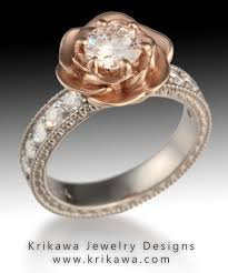 vintage flower rings images Vintage engagement ring with rose gold and a rose flower jpg