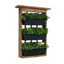 algreen 6 in wood garden view vertical garden with 3 planters