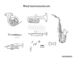 hand drawn sketch illustration of wind instruments set with treble
