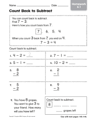 subtraction subtraction worksheets counting back free math
