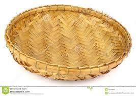 Rattan Baskets by Round Handmade Rattan Basket On White Back Ground Stock Photos