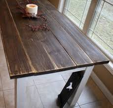 White Farmhouse Kitchen Table by Our Kitchen Table Reclaimed Dark Stained Wood Top Distressed