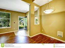empty apartment with open floor plan entrance hallway stock photo