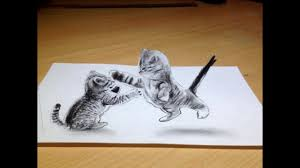 un dessin 3d de deux chats a voir vidéo
