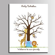 baby shower fingerprint tree online shop diy fingerprint tree signature canvas painting animal