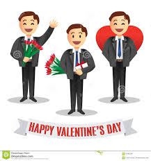 Men S Valentine S Day by Romantic Cartoon Man With Flowers For Valentines Day Stock Vector