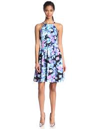 vince camuto women u0027s halter fitted printed floral flare dress