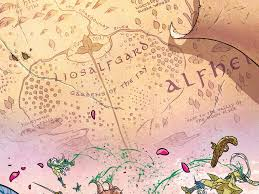 Dc Comics World Map by Image Map Of Alfheim From Mighty Thor Vol 2 3 Png Marvel