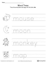 trace words that begin with letter sound m myteachingstation com