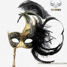 black and gold masquerade masks buy stick masquerade mask black gold venetian feather burlesque