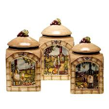tuscan kitchen canisters certified international tuscan view 3 pc kitchen canister set