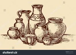 empty painted clay pots water oil stock vector 250778401