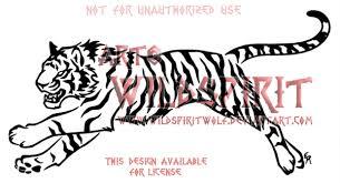 fierce running tiger tribal design by wildspiritwolf on deviantart