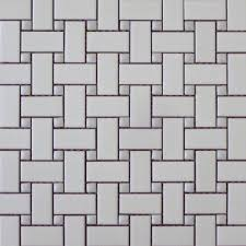 basket weave white with gloss grey dot terra tile and marble