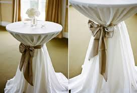 table sashes covering bistro and pub tables for weddings and special events
