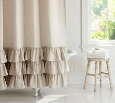 Fabric Shower Curtain With Window Linen Ruffle Shower Curtain Pottery Barn