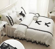 Black And White Lace Comforter Fadfay Home Textile Cute Girls Black And White Bedding Set White