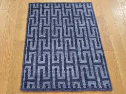 Blue Modern Rug 2 X 3 Navy Blue Modern Wool And Silk Knotted Rug