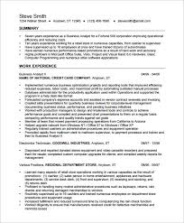 Analyst Resume Sample Business Resume Templates Basic Resume Template 51 Free Samples
