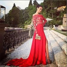 dress slit red prom dress boat sleeve prom gown prom dress