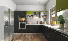 l shaped model design modular kitchen idea with combined colours
