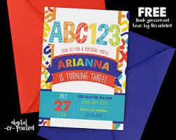 alphabet birthday invitations first birthday invites