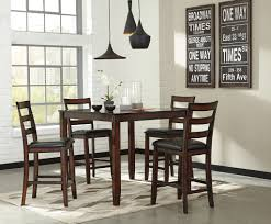 5 pc chrovia casual brown color counter table set table and 4