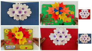 3d popup flower bouquet card diy tutorial by paper folds