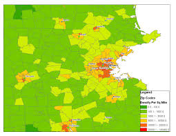 City Of Boston Map by 7ageography Population Density Of Boston