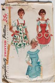 Apron Designs And Kitchen Apron Styles Sewing Patterns Lot 40s 50s 60s Kitchen Aprons Retro Hostess