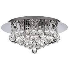 searchlight hanna led semi flush ceiling light crystal chrome ip44