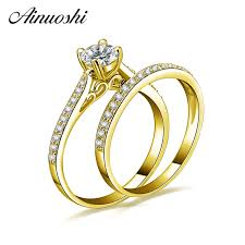 gold wedding ring sets ainuoshi 10k solid yellow gold wedding ring set cut sona