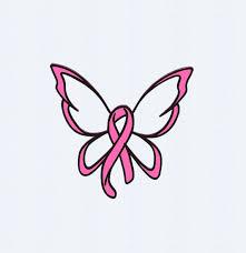 cancer ribbon swirls butterfly print