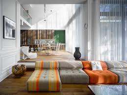 modern custom home with central atrium and interior bamboo garden contemporary living room design