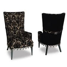 damask chair glam chair black velvet damask haute house home