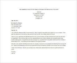 recommendation letter for preschool teacher docoments ojazlink