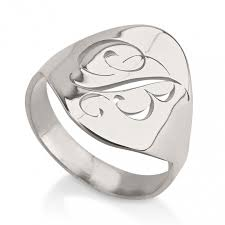 monogram rings sterling silver out single initial monogram ring sterling silver