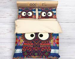 Owl Queen Comforter Set Owl Bedding Etsy