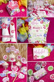 Printable Hawaiian Decorations Luau Party Decorations Luau Invitation Hawaiian Theme Party