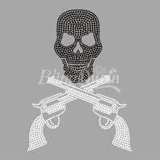 fix iron on rhinestone motifs skull with gun design in