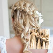 Hochsteckfrisuren Locken Flechten by Zopf Am Hinterkopf Langes Haar Mit Locken Brautfrisur Mit
