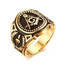 men gold ring vintage stainless steel men gold ring