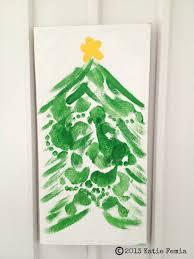 festive family craft diy christmas family footprint tree
