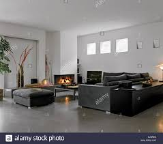 modern living room with fabric sofa and fireplace and concrete