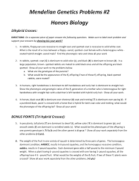 mendelian genetics problems 2 honors biology