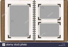 blank photo album aged open photo album blank pages with retro photo frames vector