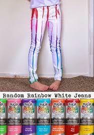 ilovetocreate blog diy tutorial random rainbow white jeans with