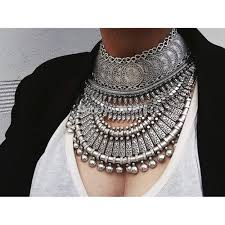 silver necklace set images Bohemian silver coin necklace set indian bridal jewelry set jpg