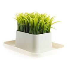 kikkerland desktop fake potted grass plant pen u0026 phone stand desk