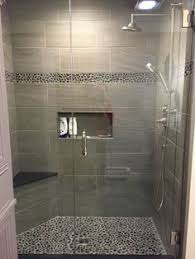 bathroom ideas shower large charcoal black pebble tile border shower accent https www